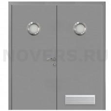 Дверь пластиковая Капель (Kapelli Classic) серый RAL 7040 двустворчатая с двумя иллюминаторами и вентиляционной решеткой