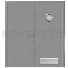 Дверь пластиковая Капель (Kapelli Classic) серый RAL 7040 двустворчатая с иллюминатором и вентиляционной решеткой