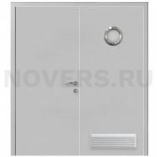 Дверь пластиковая Капель (Kapelli Classic) серый RAL 7035 двустворчатая с иллюминатором и вентиляционной решеткой