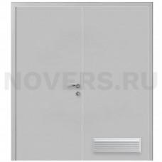 Дверь пластиковая Капель (Kapelli Classic) серый RAL 7035 двустворчатая с вентиляционной решеткой