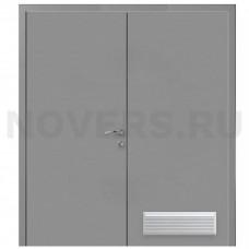 Дверь пластиковая Капель (Kapelli Classic) серый RAL 7040 двустворчатая с вентиляционной решеткой