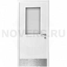 Дверь пластиковая Капель (Kapelli Classic) ДО белый армированное стекло с отбойной пластиной