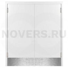 Маятниковая двухстворчатая дверь пластиковая гладкая Kapelli Classic белый