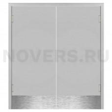 Маятниковая двухстворчатая дверь пластиковая гладкая Kapelli Classic светло серый RAL 7035