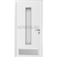 Дверь пластиковая Капель (Kapelli Classic) ДО белый армированное стекло с вентиляционной решеткой