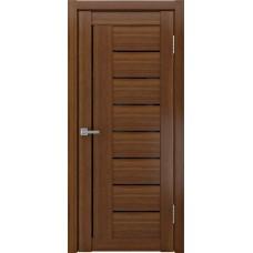 Дверь экошпон ЛУ 17 темный орех стекло черное