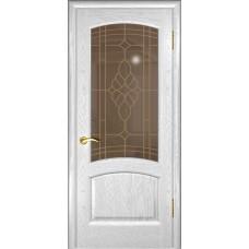 Дверь Luxor шпон Легенда Лаура дуб белая эмаль со стеклом
