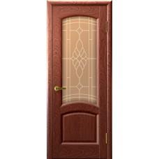 Дверь Luxor шпон Легенда Лаура красное дерево со стеклом
