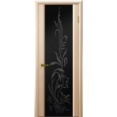 Ульяновская дверь Luxor шпон Легенда Трава 2 беленый дуб стекло