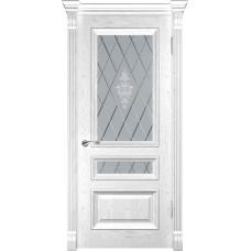 Дверь Luxor Фараон-2 ДО дуб белая эмаль со стеклом