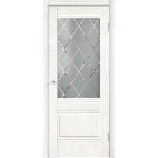 Дверь экошпон Velldoris Alto 2V Белый эмалит со стеклом Ромб светлый