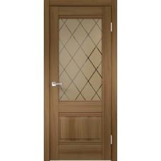 Дверь экошпон Velldoris Alto 2V Орех золотой со стеклом Ромб бронза