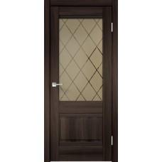 Дверь экошпон Velldoris Alto 2V Орех каштан со стеклом Ромб бронза