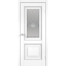 Дверь экошпон Velldoris Alto 7 ДО Ясень белый структурный со стеклом Кристалл серебро