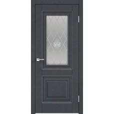 Дверь экошпон Velldoris Alto 7 ДО Ясень графит структурный со стеклом Кристалл серебро