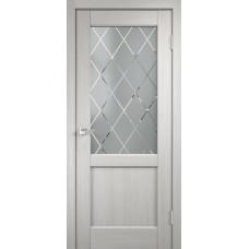Дверь экошпон Velldoris Classico 3 2V Дуб белый со стеклом Ромб светлый