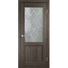 Дверь экошпон Velldoris Classico 3 2V Дуб серый со стеклом Ромб светлый