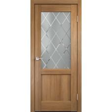Дверь экошпон Velldoris Classico 3 2V Дуб золотой со стеклом Ромб светлый