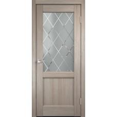 Дверь экошпон Velldoris Classico 3 2V капучино со стеклом Ромб светлый