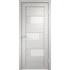 Дверь экошпон Velldoris Domino 1 Дуб белый со стеклом Lakobel белым