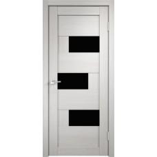Дверь экошпон Velldoris Domino 1 Дуб белый со стеклом Lakobel черное