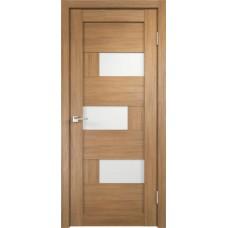 Дверь экошпон Velldoris Domino 1 Дуб золотой со стеклом Lakobel белое