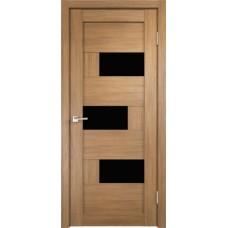 Дверь экошпон Velldoris Domino 1 Дуб золотой со стеклом Lakobel черное