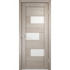 Дверь экошпон Velldoris Domino 1 Капучино со стеклом Lakobel белое