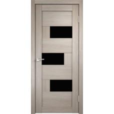 Дверь экошпон Velldoris Domino 1 Капучино со стеклом Lakobel черное