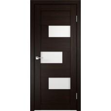 Дверь экошпон Velldoris Domino 1 Венге со стеклом Lakobel белое