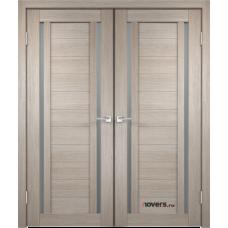 Дверь с притвором Velldoris Duplex 2 двустворчатая Капучино со стеклом Matelux