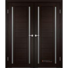Дверь с притвором Velldoris Duplex 2 двустворчатая Венге со стеклом Matelux