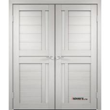Дверь с притвором Velldoris Duplex 3 двустворчатая Дуб белый со стеклом Lacobel белым