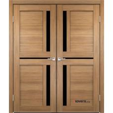 Дверь с притвором Velldoris Duplex 3 двустворчатая Дуб золотой со стеклом Lacobel черным