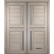 Дверь с притвором Velldoris Duplex 3 двустворчатая Капучино со стеклом Matelux