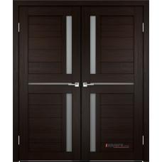 Дверь с притвором Velldoris Duplex 3 двустворчатая Венге со стеклом Matelux