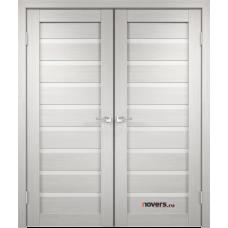 Дверь с притвором Velldoris Duplex 8 двустворчатая Дуб белый со стеклом Lacobel белым