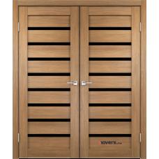 Дверь с притвором Velldoris Duplex 8 двустворчатая Дуб золотой со стеклом Lacobel черным