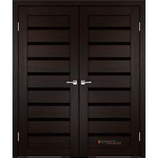 Дверь с притвором Velldoris Duplex 8 двустворчатая Венге со стеклом Lacobel черным