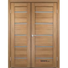 Дверь с притвором Velldoris Duplex двустворчатая Дуб золотой со стеклом Matelux