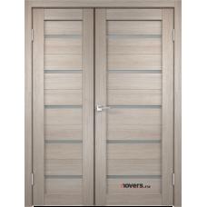 Дверь с притвором Velldoris Duplex двустворчатая Капучино со стеклом Matelux