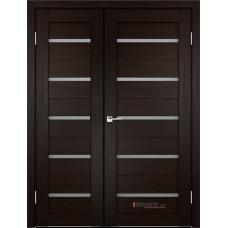 Дверь с притвором Velldoris Duplex двустворчатая Венге со стеклом Matelux