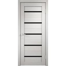 Дверь экошпон Velldoris Duplex Дуб белый со стеклом Lacobel черное