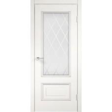 Дверь экошпон Velldoris IMPERIA 2V Пломбир браш стекло ромб светлый