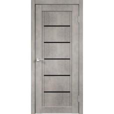 Дверь экошпон Velldoris Next 1 Муар светло-серый со стеклом Lacobel черным