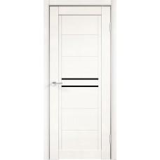 Дверь экошпон Velldoris Next 2 Белый эмалит со стеклом Lacobel черным