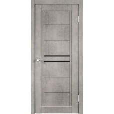 Дверь экошпон Velldoris Next 2 Муар светло-серый со стеклом Lacobel черным
