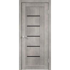 Дверь экошпон Velldoris Next 3 Муар светло-серый со стеклом Lacobel черным