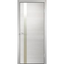 Дверь экошпон Velldoris Techno Z1 Дуб белый поперечный с зеркалом матовым и с AL кромкой