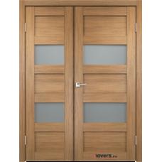 Дверь с притвором Velldoris Trend 2V двустворчатая Дуб золотой со стеклом Matelux